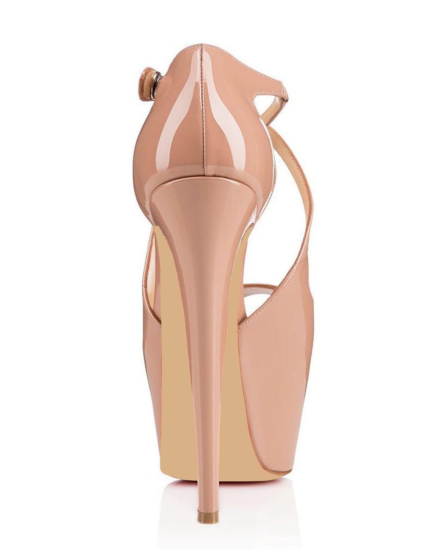 Karmran Donne Handmade Marchio di Moda Incrociato Peep Toe 160 MM Tacco Alto Sandali Pompe Scarpe Da Sposa Partito Beige Z70318