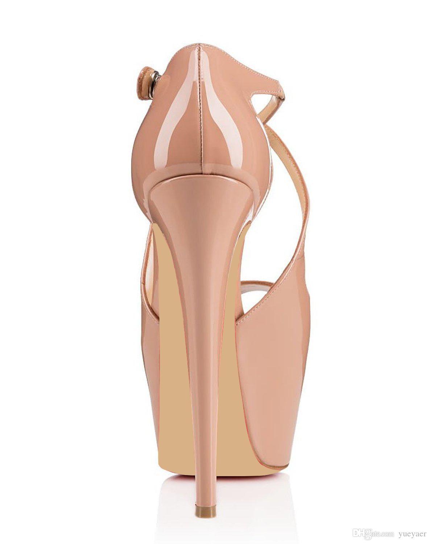 karmran Women Handmade Fashion Brand Crisscross Peep Toe 160MM High Heel Sandals Pumps For Party Wedding Shoes Beige Z70318