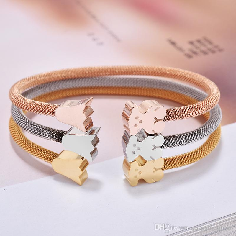 edbd8225b15b Fashion Brand New Panda Style Gold Silver Rose Gold Colors Women Female  Jewelry Open Cuff Crowns Bears Bangle Bracelet Pulsera Mujer Osos Silver  Ring Charm ...
