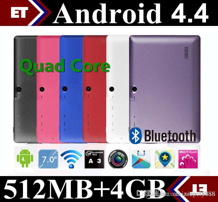 7 pollici A33 Quad Core Tablet Allwinner Android 4.4 KitKat Capacitivo 1,5 GHz DDR3 512 MB di RAM 4 GB ROM Doppia fotocamera Wi-Fi