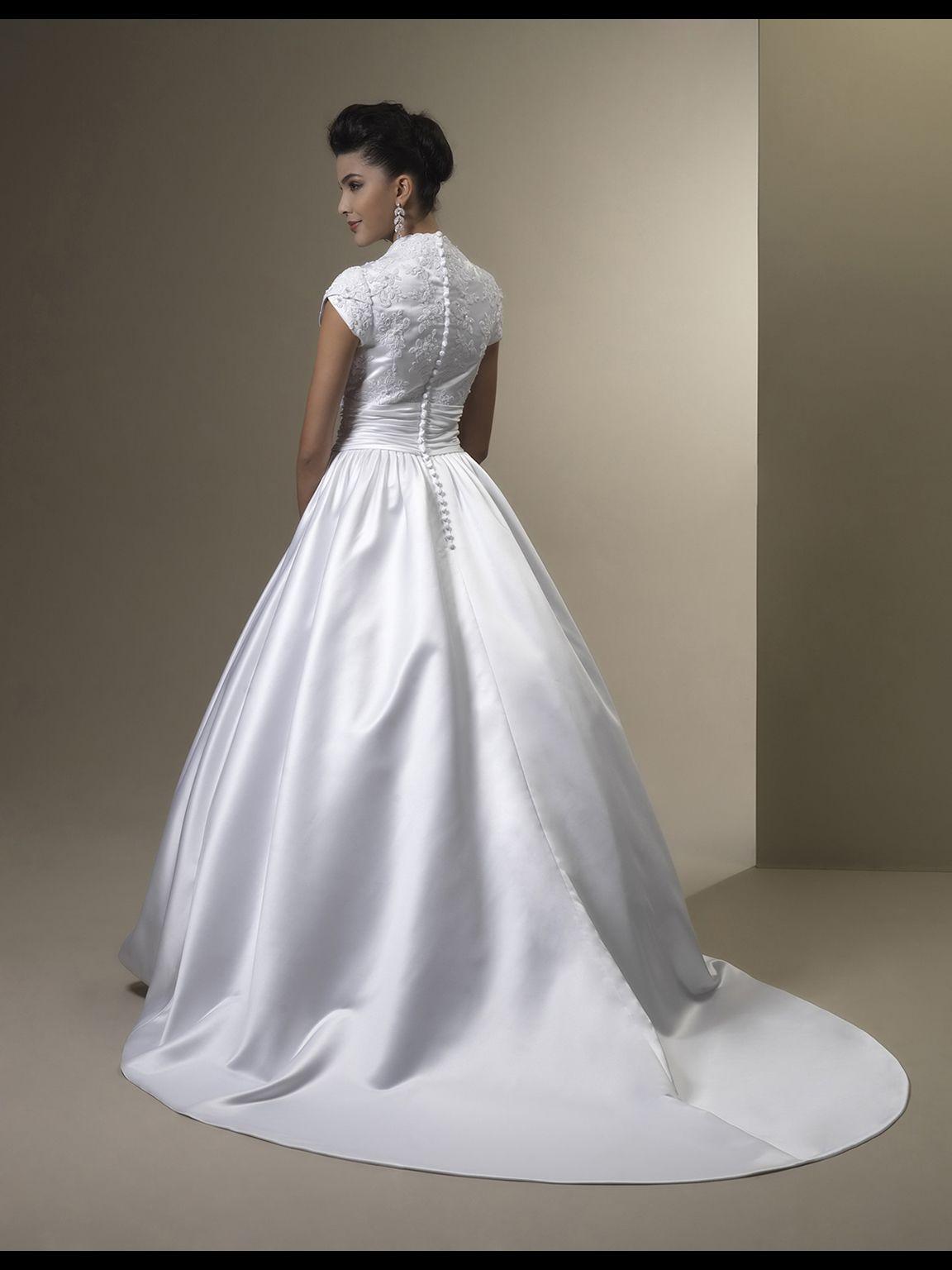 Vestido de Noiva Vintage una línea de encaje satinado vestidos de novia modestos con mangas casquillo Botones de cuello alto Volver Vestidos de novia modestos personalizados