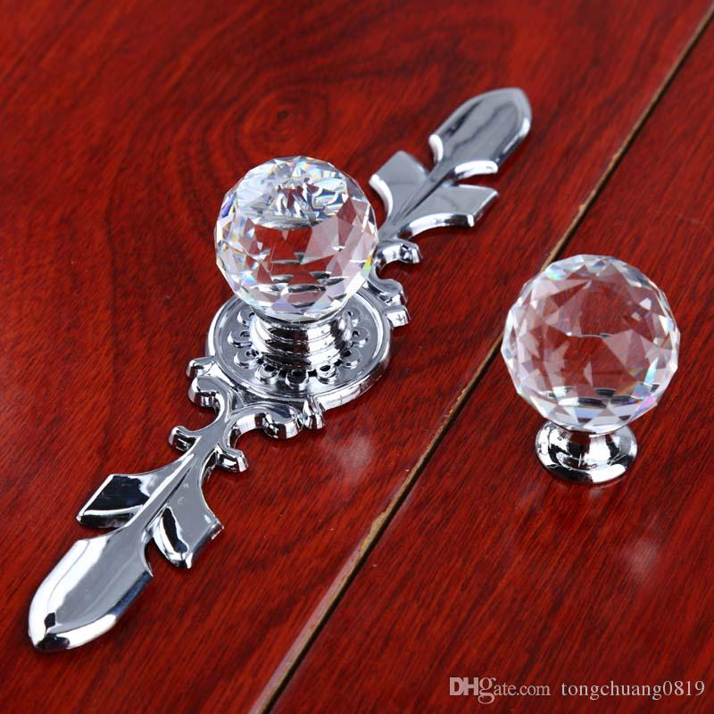 Fashion deluxe clear crystal dresser kitchen cabinet door handles silver glass drawer cupboard knobs pulls modern simple chrome