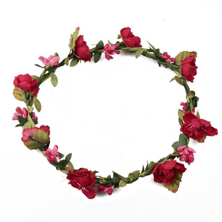 Bohemian Terylene Blumen Kranz Garland Crown Festival Hochzeit Braut Brautjungfer Floral Stirnband BOHO Kopfschmuck Headpiece Haarschmuck