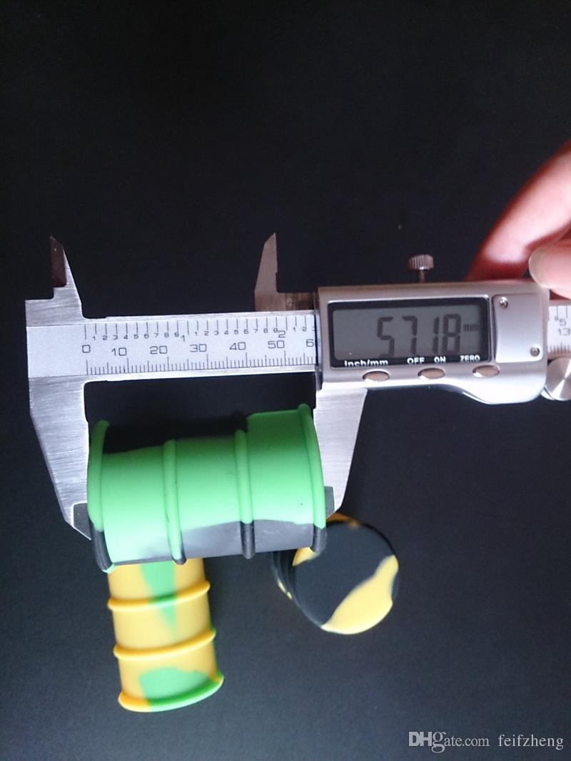 Recipiente de barril de aceite de silicona tarros frasco vaporizador de cera Aceite de goma tambor de forma de contenedor 26 ml de gran calidad alimenticia herramienta de caja de dabber de hierba seca de silicio