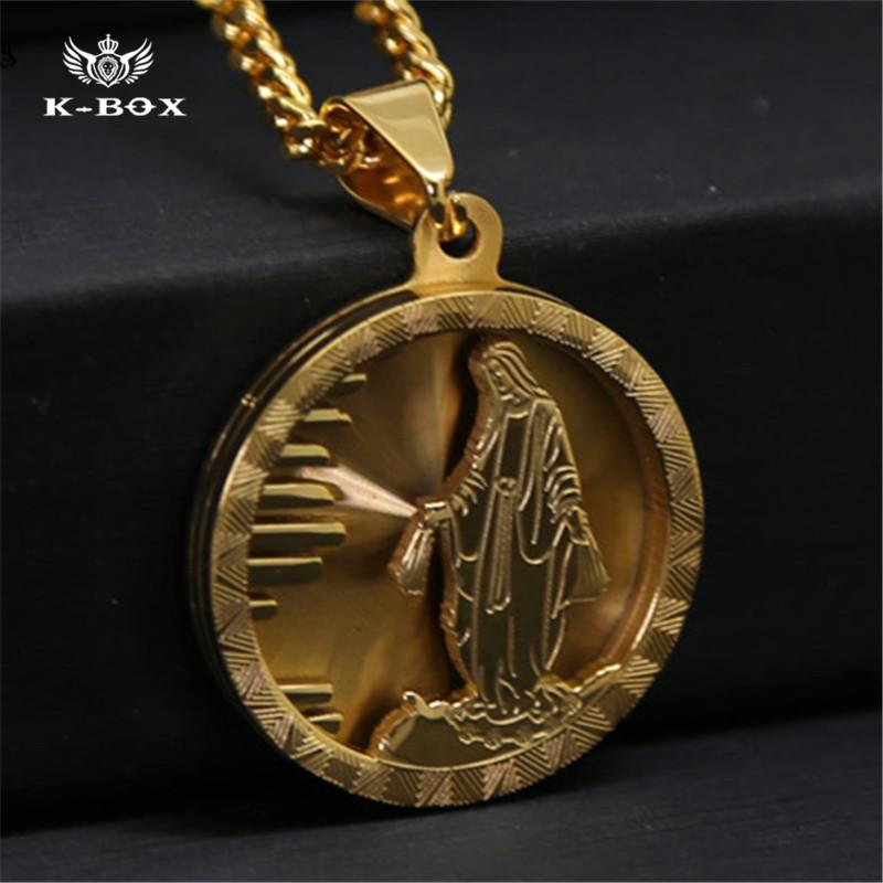 Wholesale stainless steel gold standing jesus piece necklace round wholesale stainless steel gold standing jesus piece necklace round preach jesus micro medal pendant 24 cuban curb chain hip hop necklace gold jewelry rose aloadofball Images