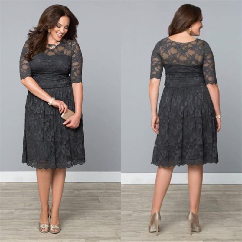 Vintage Lace Plus Size Formal Dresses Dark Gray Mothers Tea Length