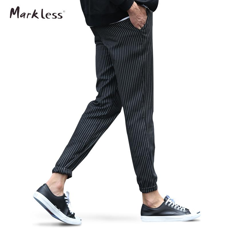 1ce12b26064 2019 Wholesale Markless 2016 Autumn Men S New Thin Brand Pants Casual  Striped Pencil Pants For Man Clothing Fashion British Style Trousers From  Caojue