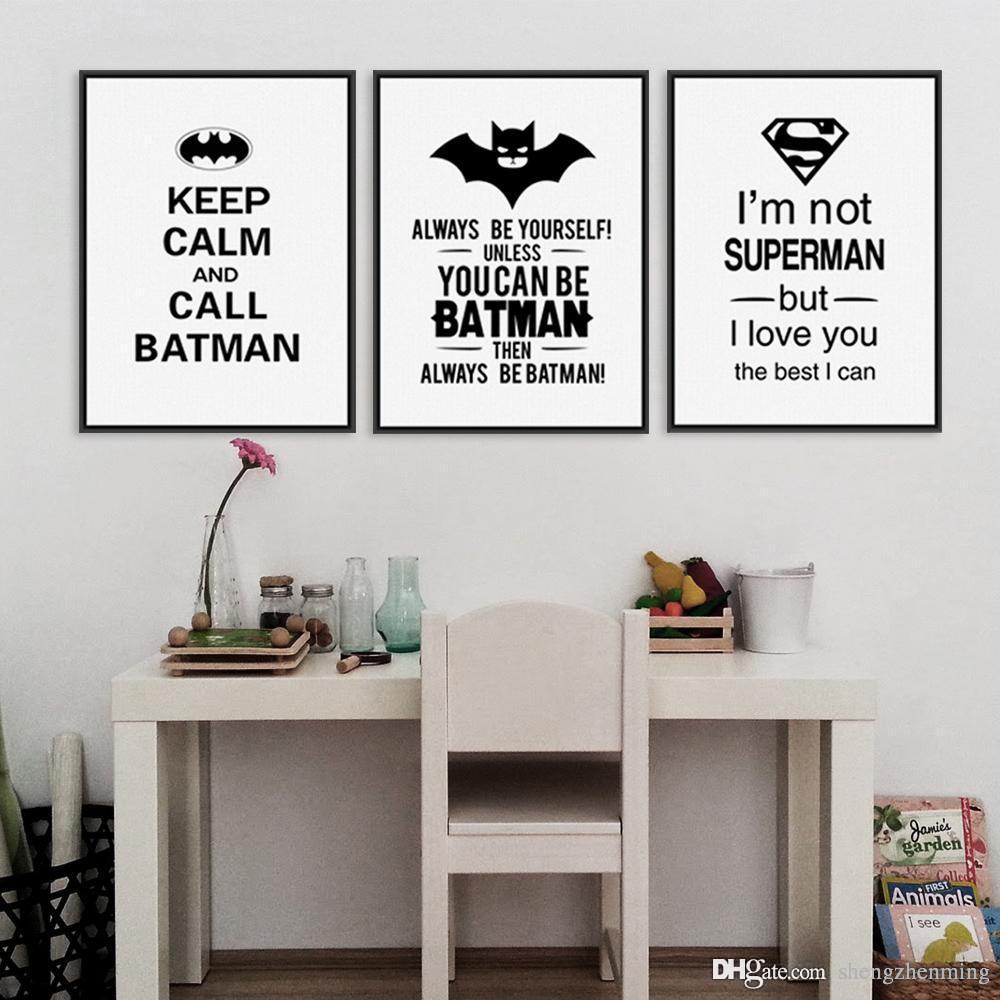 Acheter superhero batman art prints affiche noir blanc typographie citations mur image enfants chambre bébé garçon toile peinture no frame de 6 27 du