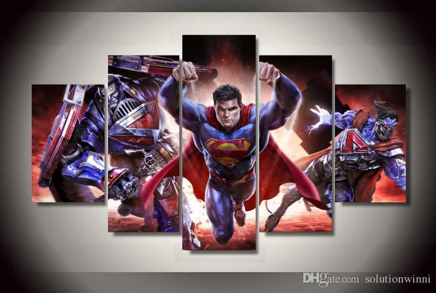 Satın Al 5 Panel Hd Baskılı Comics Superman Tuval üzerine Boyama