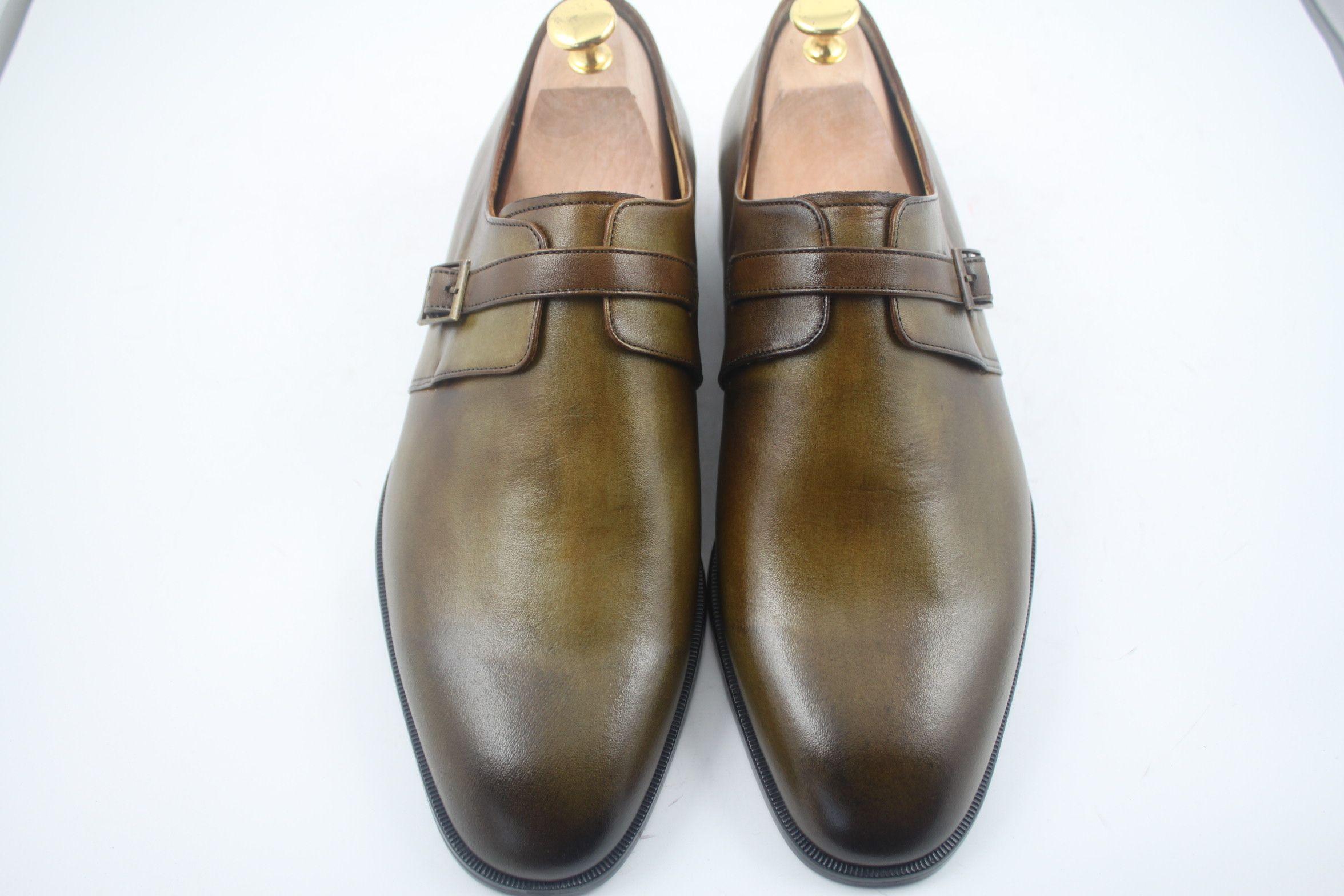 221e0e4d1fba2 Acheter Hommes Chaussures De Marche Monk Chaussures Chaussures À La Main  Faites À La Main Cuir De Veau Authentique Couleur Brun Foncé Sangle Seule  Boucle Hd ...
