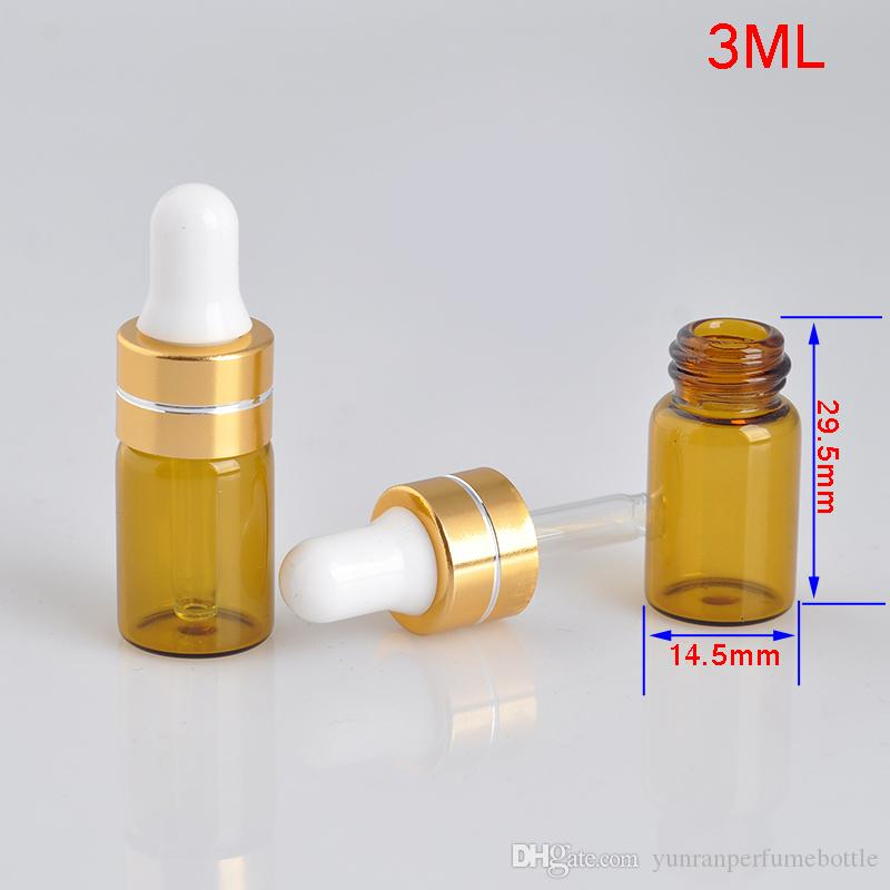 Wholesale 3ML Mini Portable Glass Refillable Perfume Bottle With Dropper Empty Essential Oils Vial For Travel