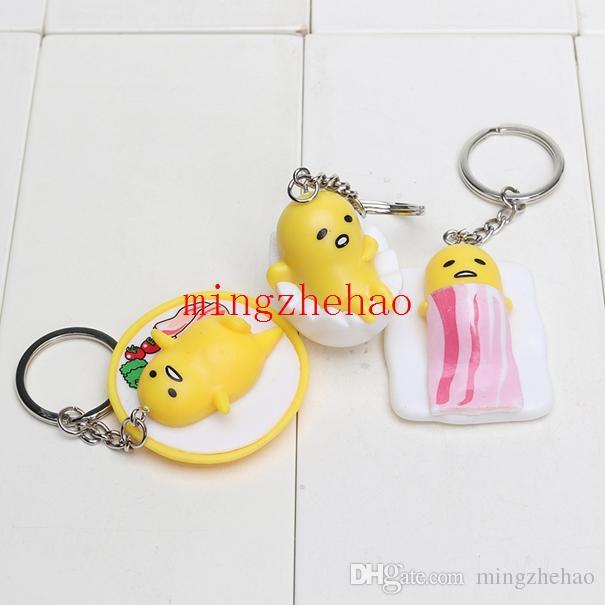 5 Pacote / 4 cm Gudetama Amarelo Ovo Preguiçoso Gudetama Keychain Pingentes PVC Figura Brinquedos Gudetama chaveiro