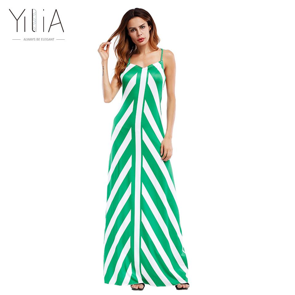 Yilia Stripe Long Maxi Beach Party Dresses Women 2017 Casual Summer ...