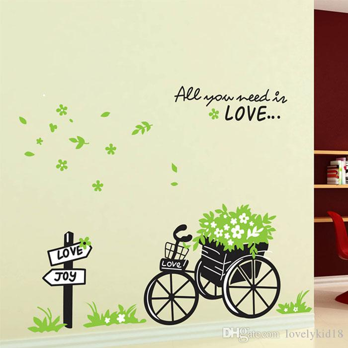 Removable Love Joy Bike Bicyle Flower Wall Stickers Floral Wall Decals  Bedroom Living Room Classroom Mural Art Decorations Decal Wall Art Decal  Wall Decor ...
