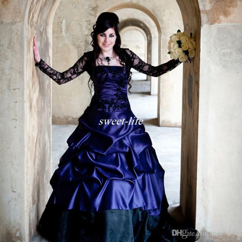 Викторианская Готика плюс размер с длинным рукавом свадебные платья сексуальный фиолетовый и черный оборки атласный корсет без бретелек кружева свадебные платья плюс размер одежды