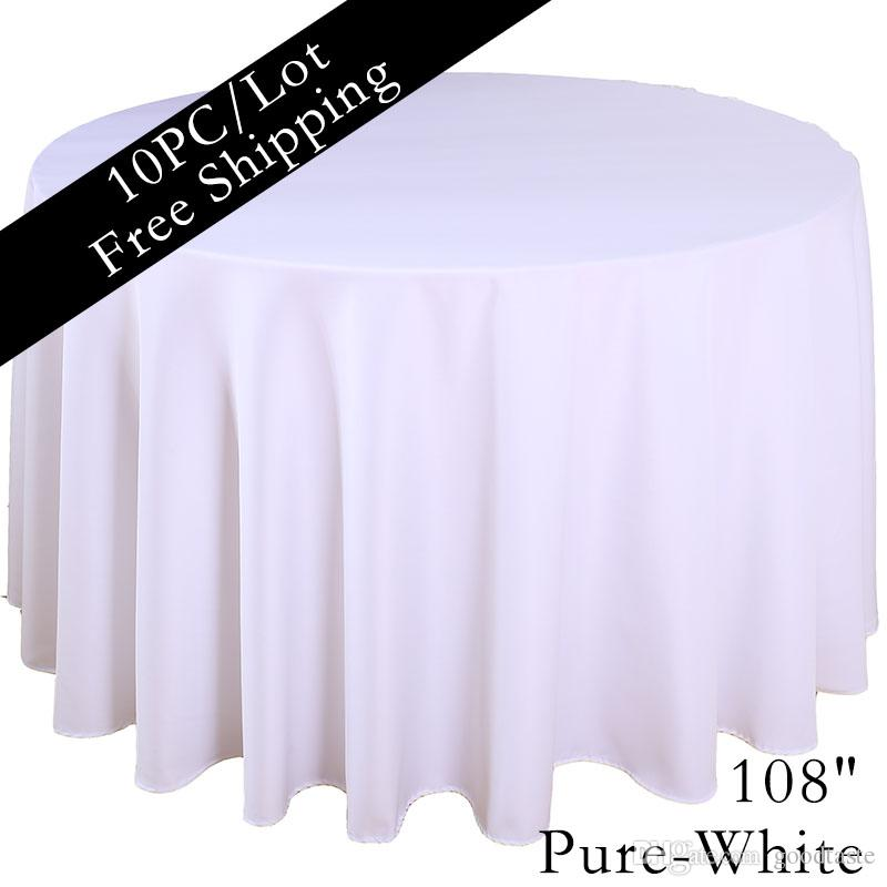 Charmant Home Table Cloth 108 Round Polyester Plain Tablecloth Cheap White Black  Colored Hotel Table Cloth Of Wedding Xmas Party Vintage Home Decor Purple  ...
