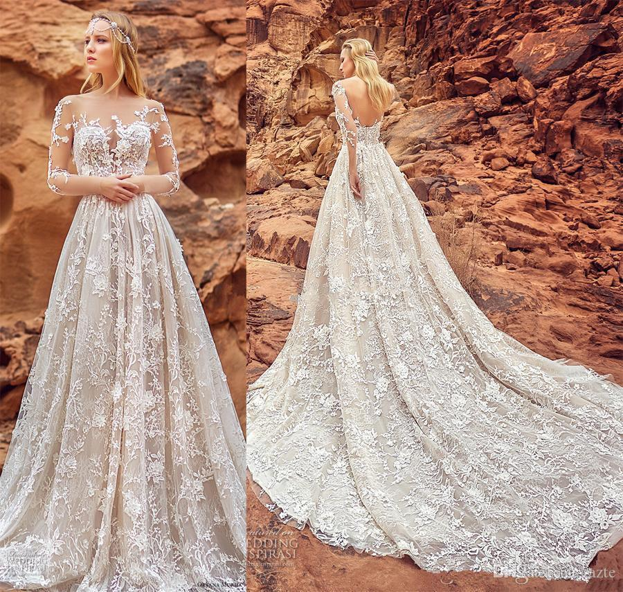 Luxurious Full 3D Lace Floral Dubai Arabic Wedding Dresses With Pockets  2018 Oksana Mukha 3 4 Long Sleeves Royal Train Wedding Gown Wedding Dress  Sale ... f204c113c