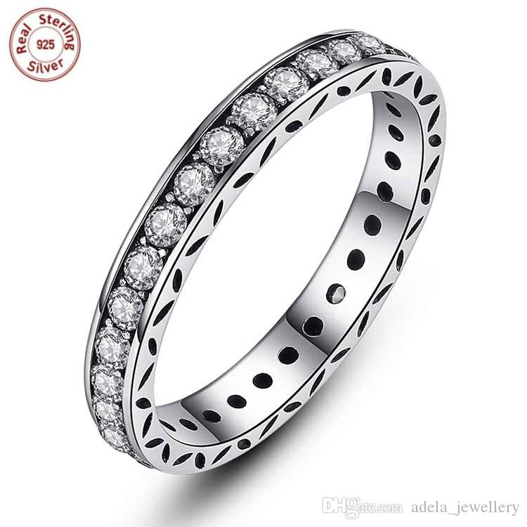 2019 Wholesale Solid 925 Sterling Silver Rings With Clear