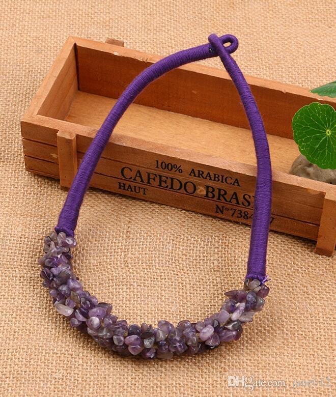 حار بيع البوهيمي نمط الهند مجوهرات اليدوية الحجر الطبيعي العقيق كريستال الركام المختنق قلادة في السائبة بالجملة