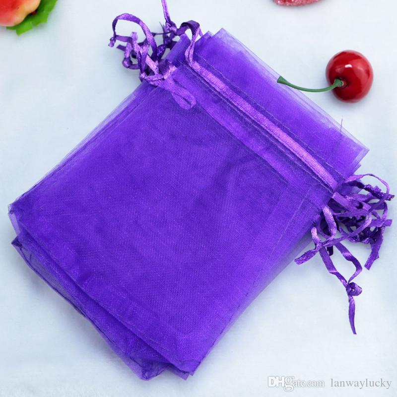 "Purple Organza Drawstring Pouches Jewelry Party Small Wedding Favor Gift Bags Packaging Gift candy Wrap Square 5cm X7cm 2"" X2.75"""