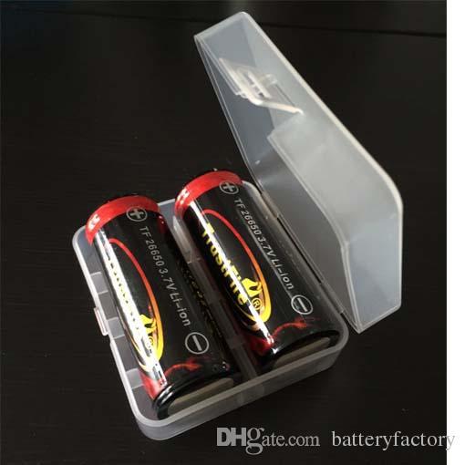 고품질 26650 명확한 백색 E-cigs 플라스틱 건전지 상자 상자 홀더 저장병 포장 팩 2 * 26650는 건전지 건전지를 위해 건전지를 위해