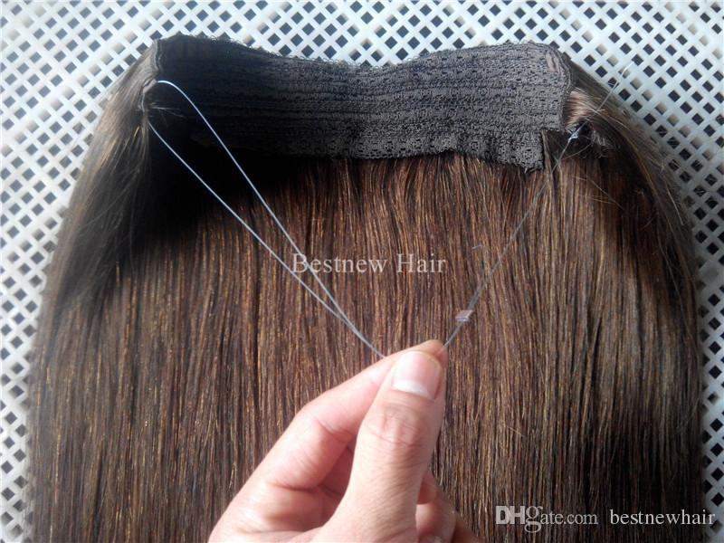 LUMMY Halo 16 inç-28 inç 100 g / paket Saç Uzantıları içinde Brezilyalı İnsan saç Kadınlar için Son Moda Çevirme Saç uzatma Kadınlar Için Hiçbir Klipler