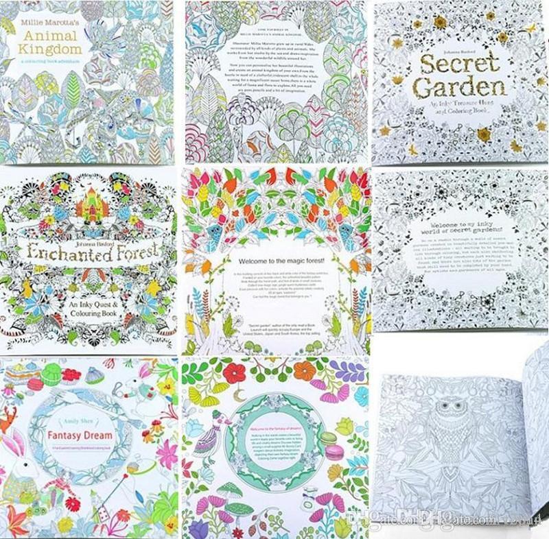 Adult Coloring Books 4 Designs Secret Garden Animal Kingdom Fantasy ...