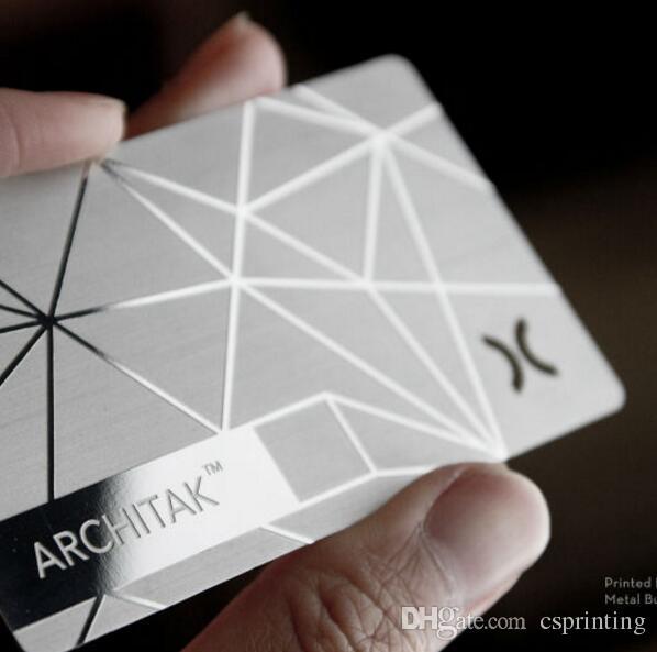 aço inoxidável exclusivo cartão de metal prateado cartão de visita cartões de prata cartões extravagantes