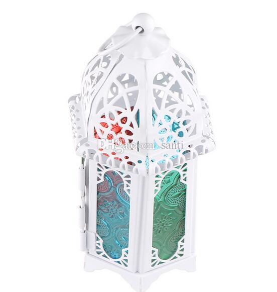 Chaude Classique Style Marocain Bougeoir 8.3 * 7.2 * 16.5CM Votive Fer Bougeoir En Verre Bougie Lanterne Maison De Mariage Décoration