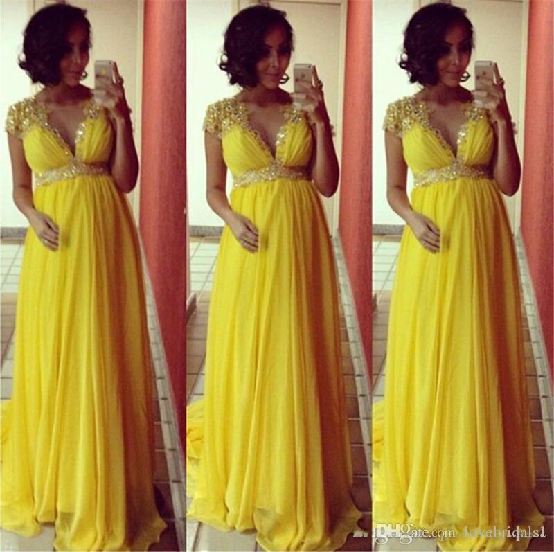 2017 hot sale Elegant Yellow A-line Evening Dresses for Pregnant Women Cap short Sleeves sequin beads sash long Prom Dresses Plus Size dres
