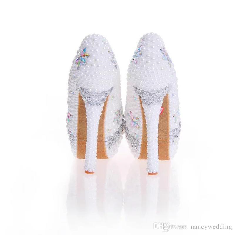 Pérola artesanal Nupcial Weding Sapatos Cor Branca com AB Cristal Mulheres Vestido Sapatos Para Cerimônia Cinderela Prom Bombas Plus Size