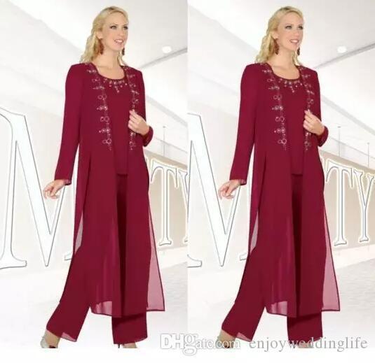 2018 신생 Burgundy 신사복 자켓을 착용 한 어머니 Long Sleeves Sheath 쉬폰 정식 Wear Mother 's Pants Suit 맞춤 제작