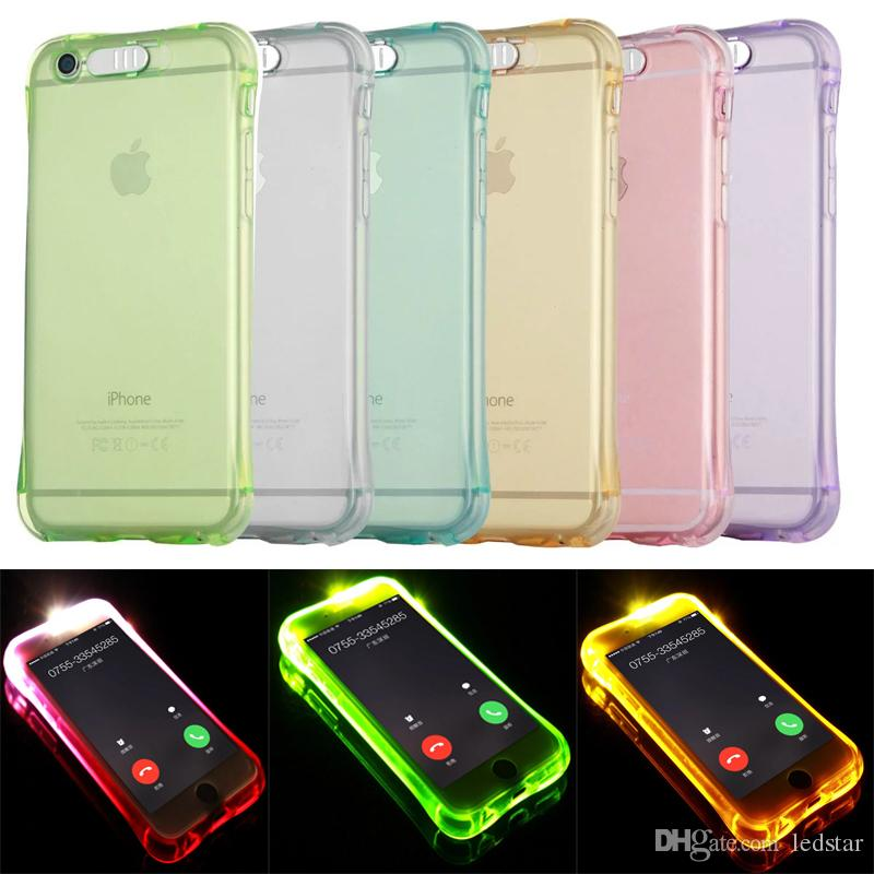 lowest price 34d04 cd867 For iPhone 8 Case Call Lightning Flash LED Light Up Soft TPU Ultra Thin  Clear Shockproof Cover Transparent Silicone Clear Galaxy S8 S8Plus