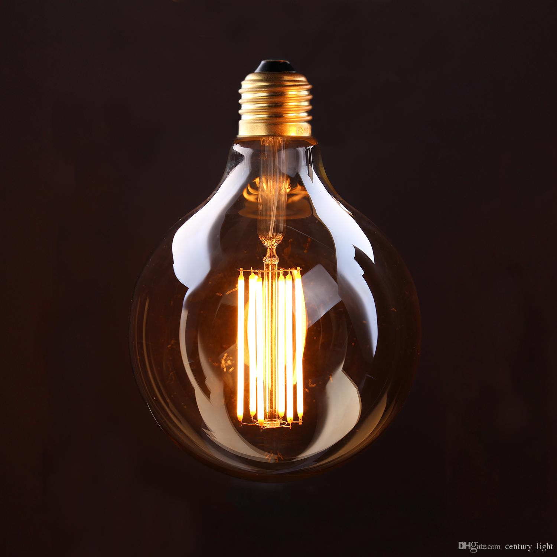 vintage led long filament bulb gold tint edison g125 globe style 4w
