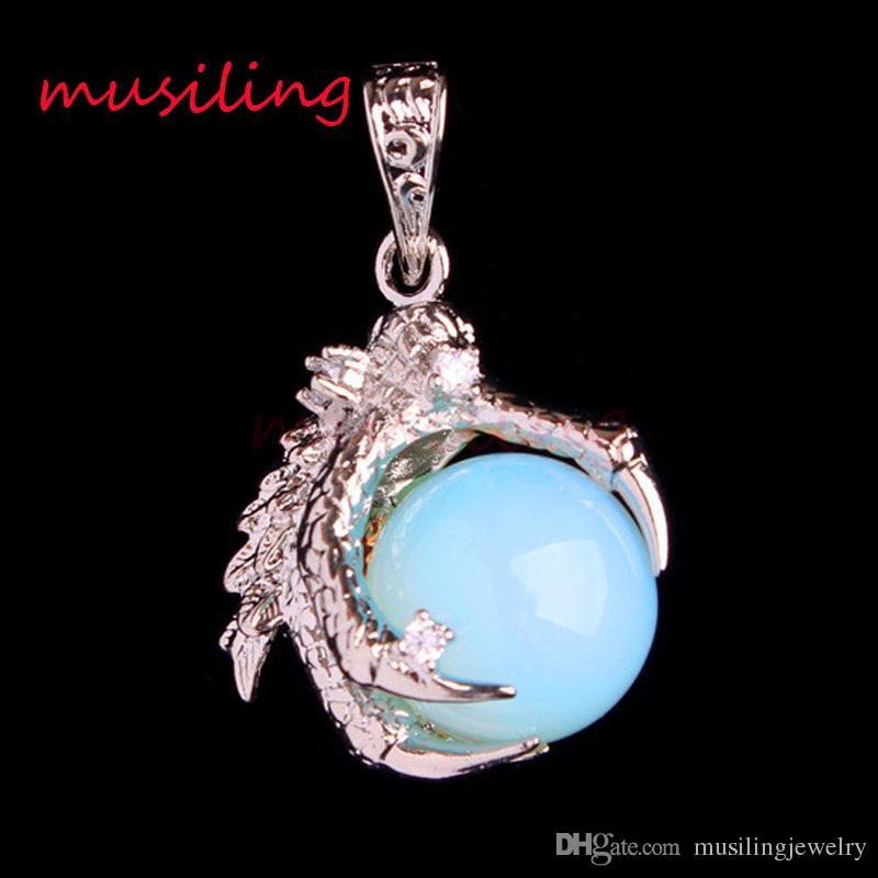 Drago Artiglio pietra naturale pendenti a pendolo Reiki Ametista cristallo di quarzo opale ecc argento placcato amuleti uomini gioielli