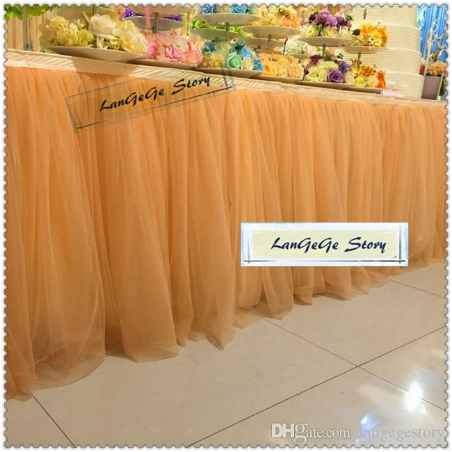 Birthday cake table cloths/ Ice silk Blue skirting with two layers mesh Yarn /wedding Tableware /2M/3M/4M/5M/6M can choose