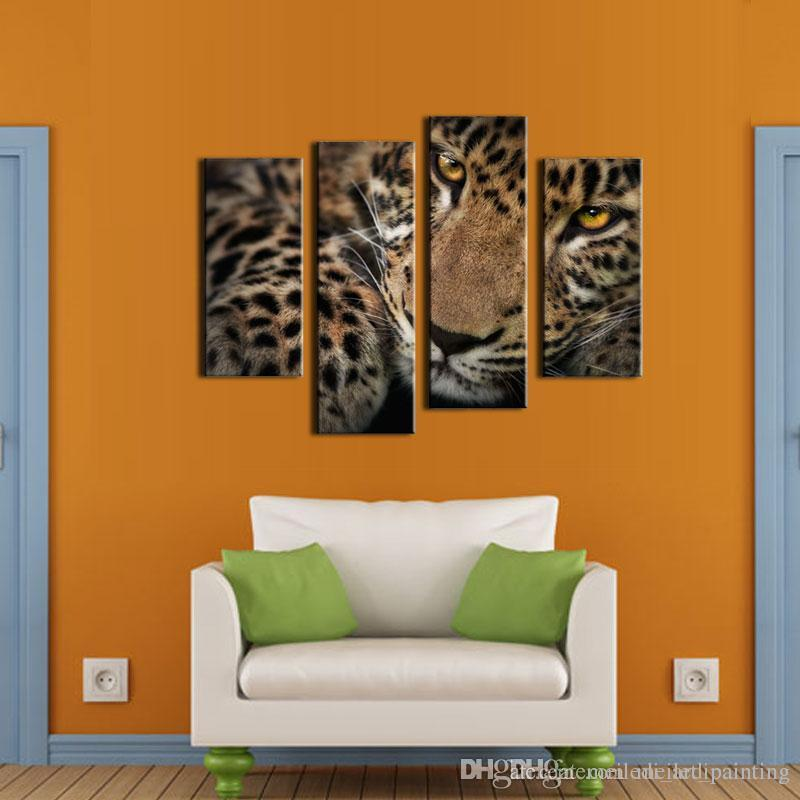 Best Quality 4 Panel Wall Art Painting Fleck Leopard Prints On ...