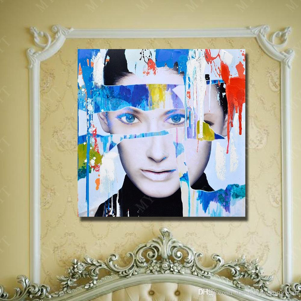 Hand Made New Design Women Face Oil Painting Home Decor Wall Pictures Modern Canvas Art Single Set No Framed