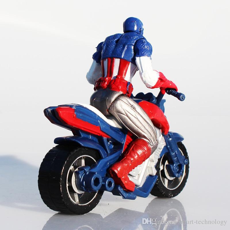 Retail Superhero Captain America En Acción de la motocicleta PVC Figure Toys Movie Avengers Figuras 10cm Envío Gratis EMS