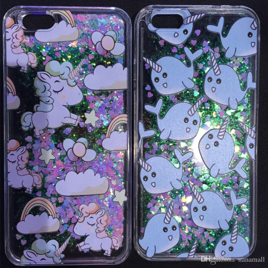 For iPhone 6 6S Plus SE 5 5S Quicksand Liquid Unicorn Horse Phone Case Cat Dolphin Dynamic Hard Plastic Cover Flowing Bling Glitter Capa