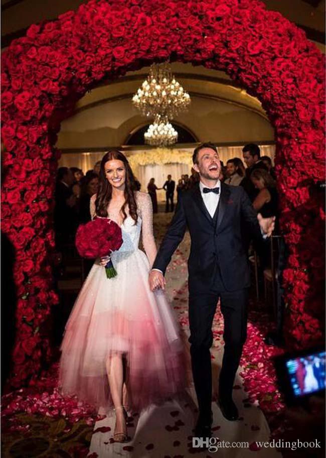 High-low Short Front Long Back Wedding Dresses Irregular Hem Beading Long Sleeve Sheer Illusion Tiered Lydia Hearst Bridal Ball Gowns Dress