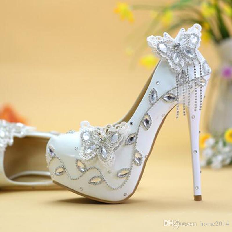 스파클링 나비 결혼식 신발 크리스탈 신부 드레스 신발 우아한 여성 드레스 펌프 졸업 파티 댄스 파티 신발 플랫폼 펌프