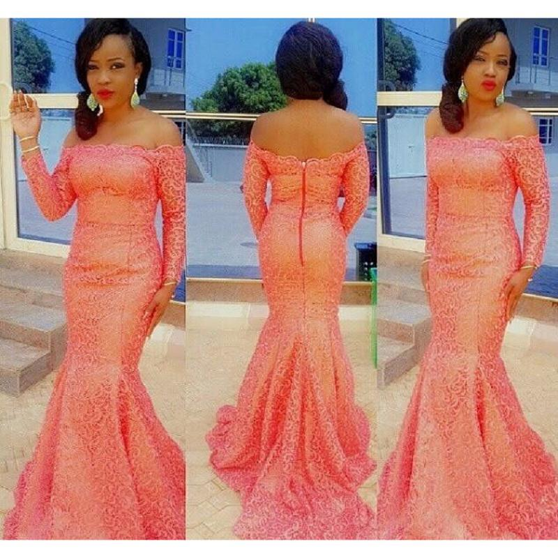 Peach Lace Off Shoulder African Prom Dresses Mermaid Long Sleeved ...