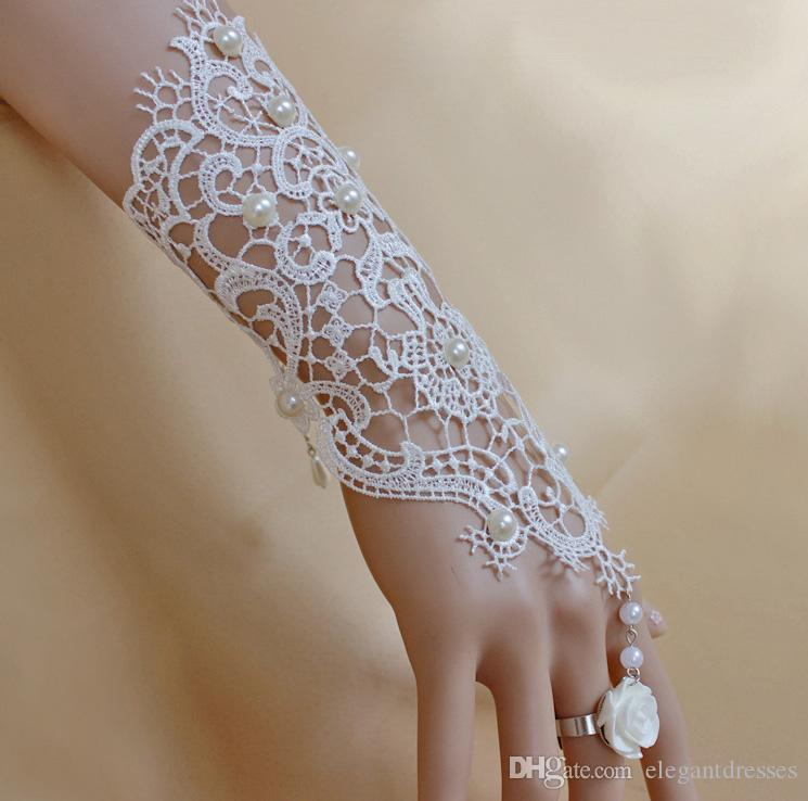 2016 Cheap Lace Bridal Gloves Fingerless Elbow Length Pearls Flower Clips Lace Elegant Wedding Gloves Accessories