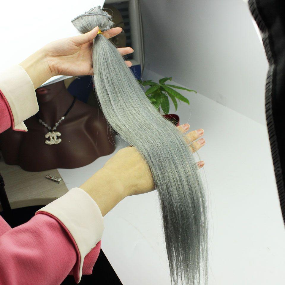 Agrafes #Grey Dans Les Extensions De Cheveux 120gram Argent Clip Dans Les Cheveux Humains Péruvienne Attache Droite Dans Les Extensions De Cheveux Humains
