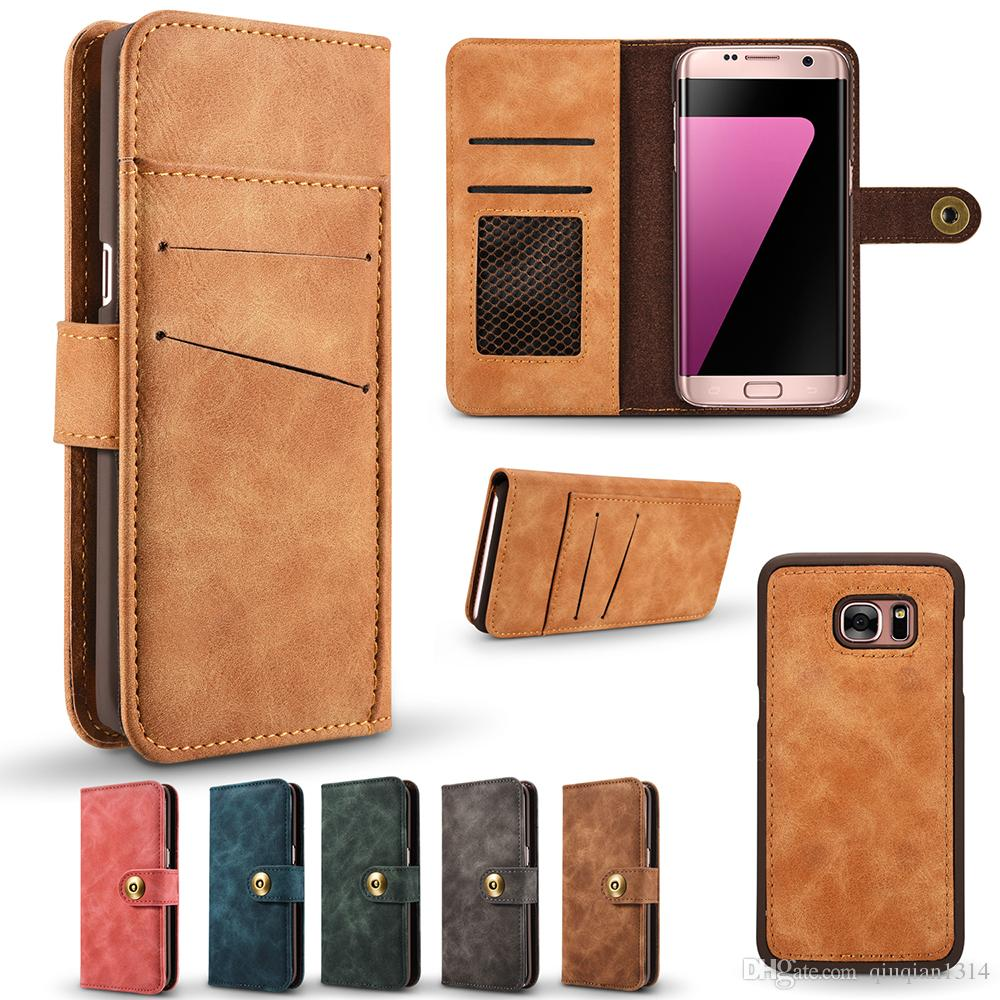 sneakers for cheap f2d82 334b0 Leather Flip Cover Case for Samsung Galaxy S7 Edge Card Slot Wallet Case  Shockproof Dirt-resistant Removable Protective Back Shell
