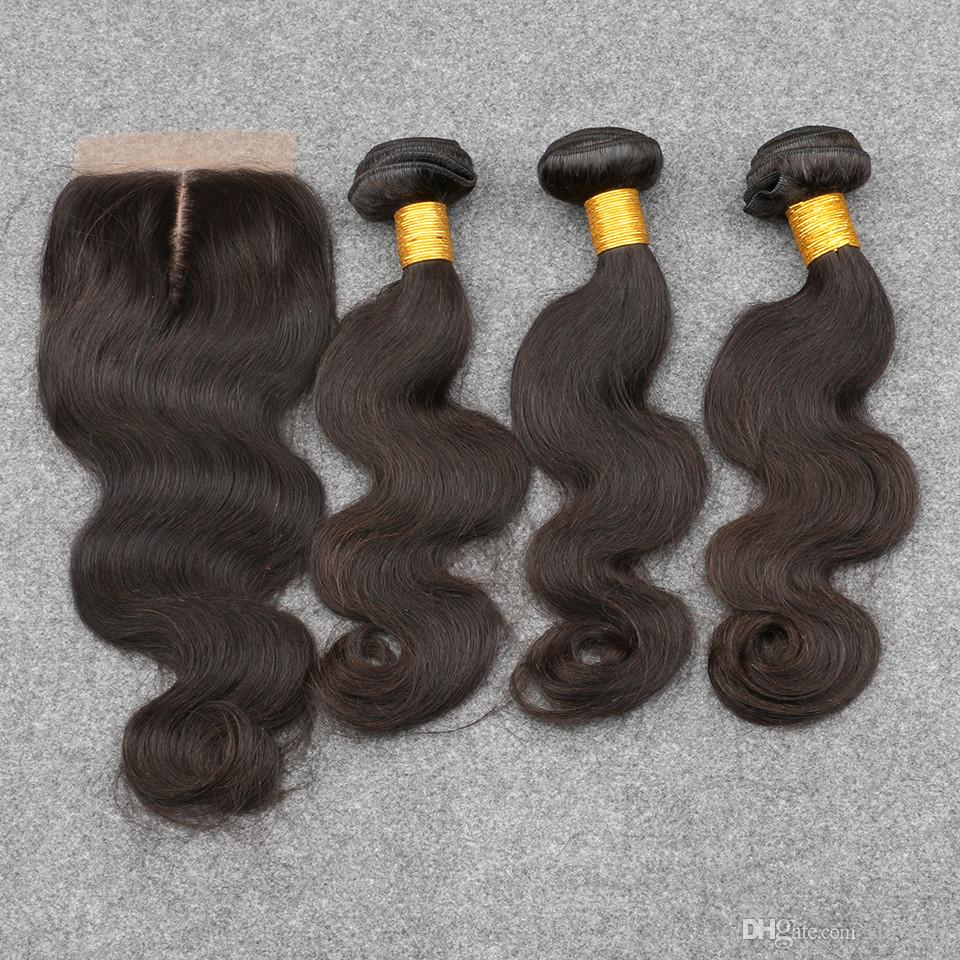 Slove Grade 8A Unprocessed Virgin Human Hair Brazilian Virgin Hair With Closure Free Shipping 3 Bundles With Lace Closure Body Wave