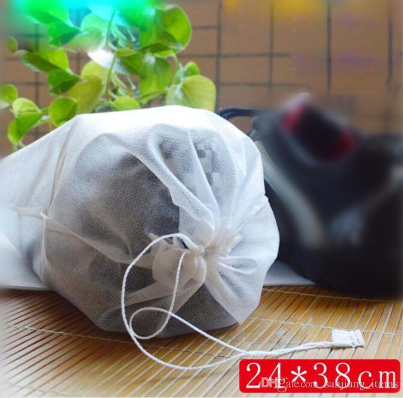 Non-woven Fabric Shoes Drawstring Bag White 20*33cm 20*38cm 24*38cm 25*33cm 38*28cm Dustproof Shoes Cover Storage Bag With Rope Reusable Bag