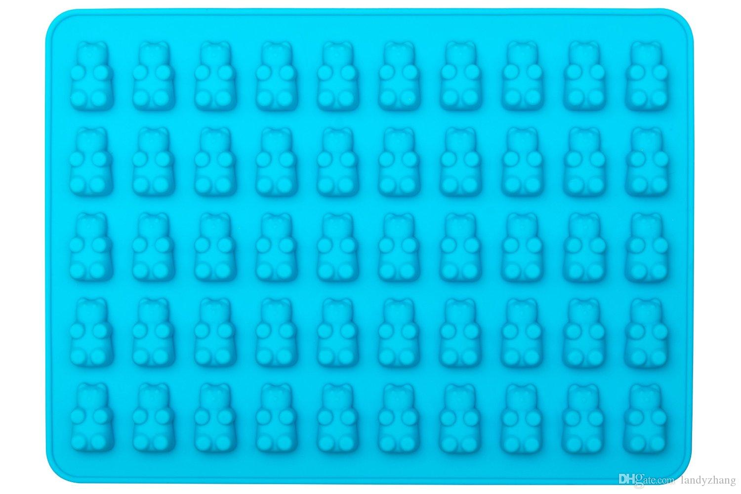 BPA free FDA Approved Food Grade 50 jose small ice cube cup candy silicone gumy bear mold with dropper