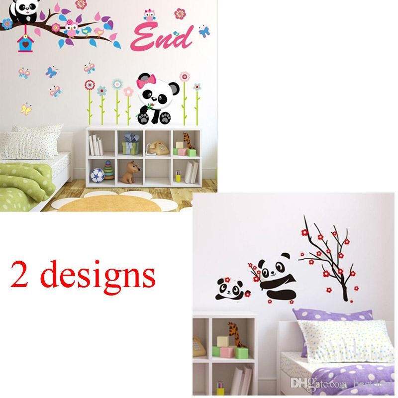 Jm8243 Ay9220 Cute Panda Owl Tree Beautiful Flower Nursery Decor Wall  Stickers Baby Bedroom Decor Wall Decals Girls Gift Home Decor Decal Stickers  For Walls ... Part 56